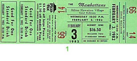 The Manhattans Vintage Ticket
