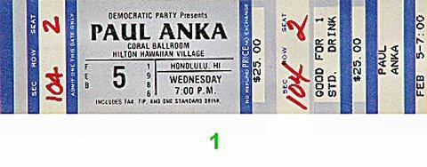 Paul Anka Vintage Ticket