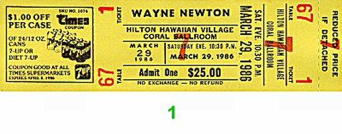 Wayne Newton Vintage Ticket