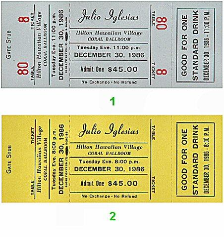 Julio Iglesias Vintage Ticket