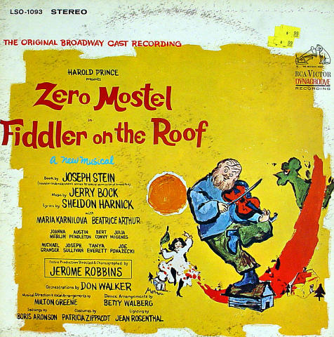 """Fiddler On The Roof A New Musical Vinyl 12"""" (Used)"""
