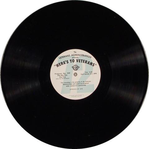 "Here's To Veterans Program No. 929/930 Vinyl 12"""
