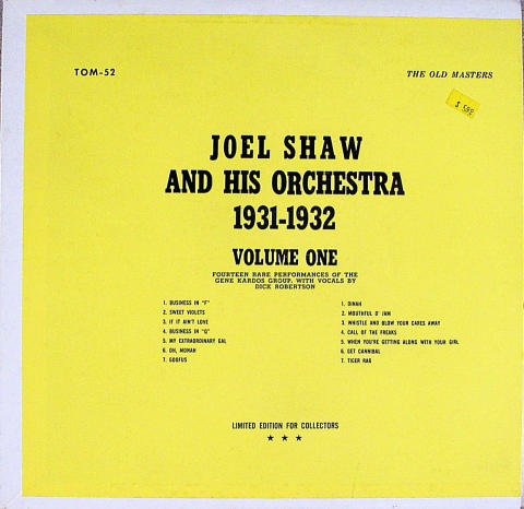 Joel Shaw And His Orchestra Vinyl 12""