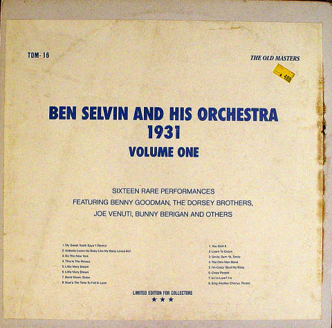 """Ben Selvin And His Orchestra Vinyl 12"""""""