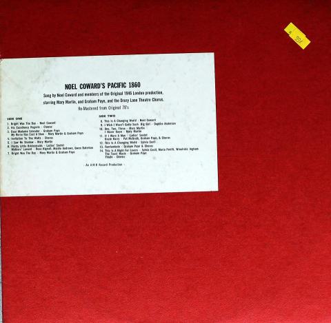 "Noel Coward's: Pacific 1860 Vinyl 12"""