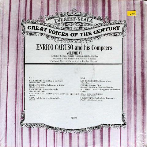 """Enrico Caruso And His Compeers Vinyl 12"""""""