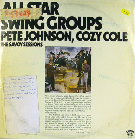 "Pete Johnson / Cozy Cole Vinyl 12"""