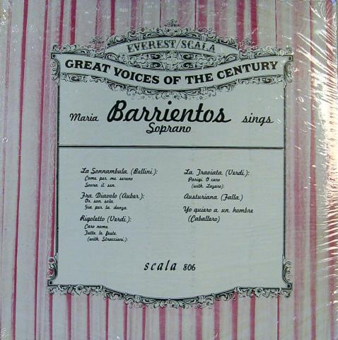 """Maria Barrientos Vinyl 12"""""""