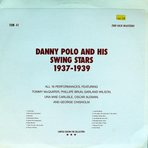 Danny Polo And His Swing Stars Vinyl 12""