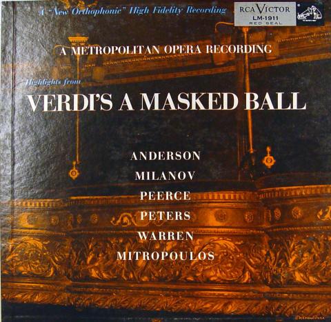 """Verdi: A Masked Ball Vinyl 12"""""""