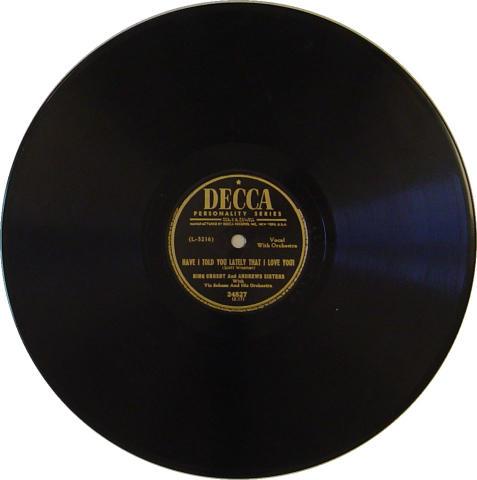Bing Crosby and Andrews Sisters 78