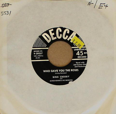 """Bing Crosby Vinyl 7"""" (Used)"""