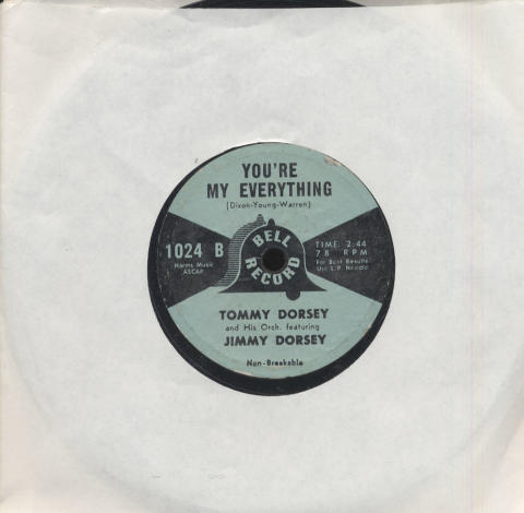 """Tommy Dorsey & His Orchestra Featuring Jimmy Dorsey Vinyl 7"""" (Used)"""
