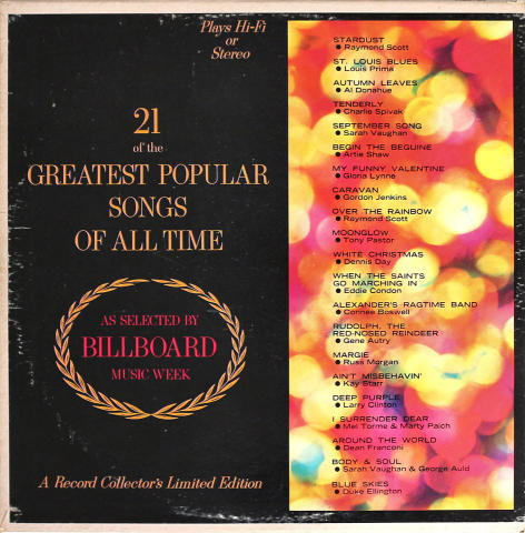 """21 Of The Greatest Popular Songs Of All Time Vinyl 12"""""""