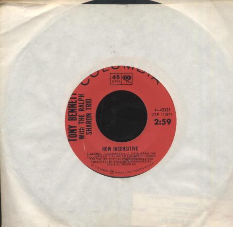"Tony Bennett With The Ralph Sharon Trio Vinyl 7"" (Used)"