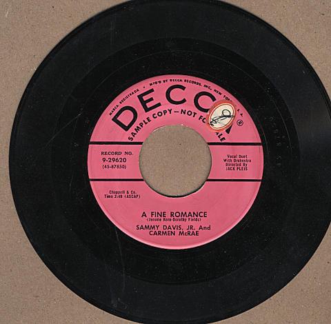 "Sammy Davis Jr. and Carment McRae Vinyl 7"" (Used)"