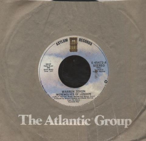 """Warren Zevon Vinyl 7"""" (Used)"""