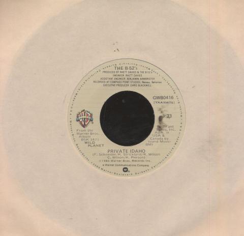 """The B-52's Vinyl 7"""" (Used)"""