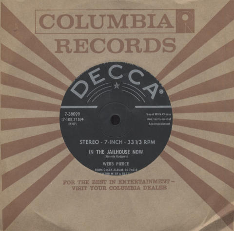 """Webb Pierce Vinyl 7"""" (Used)"""