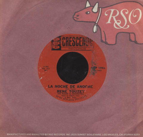 "Rene Touzet His Piano & Orchestra Vinyl 7"" (Used)"