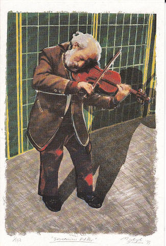Impecunious Fiddler Greeting Card