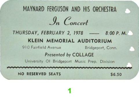 Maynard Ferguson & Orchestra Vintage Ticket