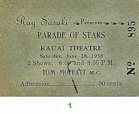 Parade of Stars Vintage Ticket