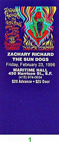 Zachary Richard Vintage Ticket