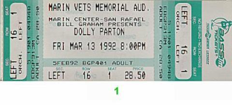 Dolly Parton Vintage Ticket