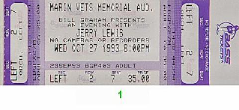 Jerry Lewis Vintage Ticket