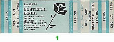 Grateful Dead Vintage Ticket
