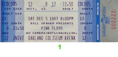 Pink Floyd Vintage Ticket