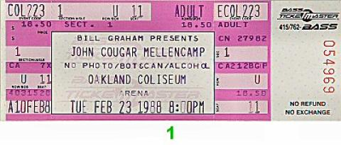 John Mellencamp Vintage Ticket