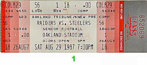 Raiders-Steelers Vintage Ticket
