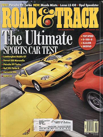 Road & Track Magazine November 2000