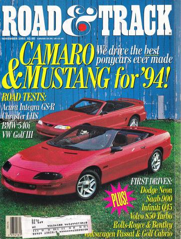 Road & Track Magazine November 1993