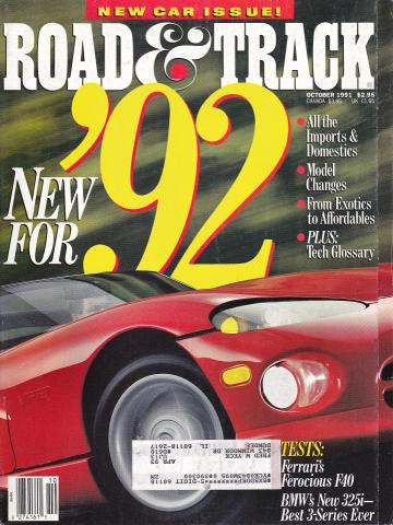 Road & Track Magazine October 1991