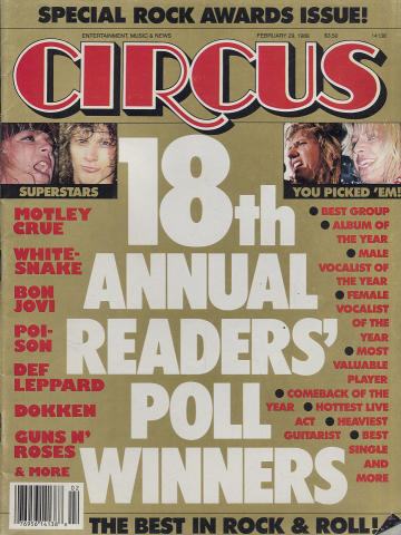 Circus Magazine Special Rock Awards Issue February 1988