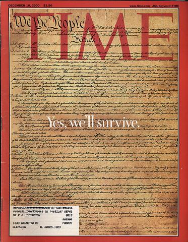Time Magazine December 18, 2000