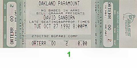 David Sanborn Group Vintage Ticket