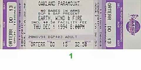 Earth, Wind & Fire Vintage Ticket