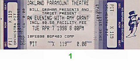 Amy Grant Vintage Ticket