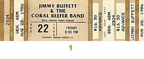 Jimmy Buffett Vintage Ticket