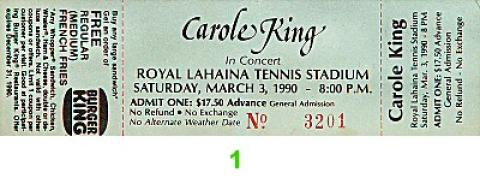 Carole King Vintage Ticket