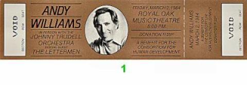 Andy Williams Vintage Ticket