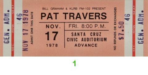 Pat Travers Vintage Ticket