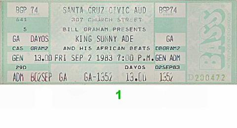 King Sunny Ade Vintage Ticket