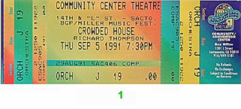 Crowded House Vintage Ticket