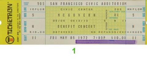 McGovern Benefit Concert Vintage Ticket