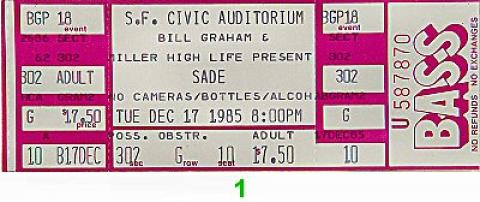 Sade Vintage Ticket